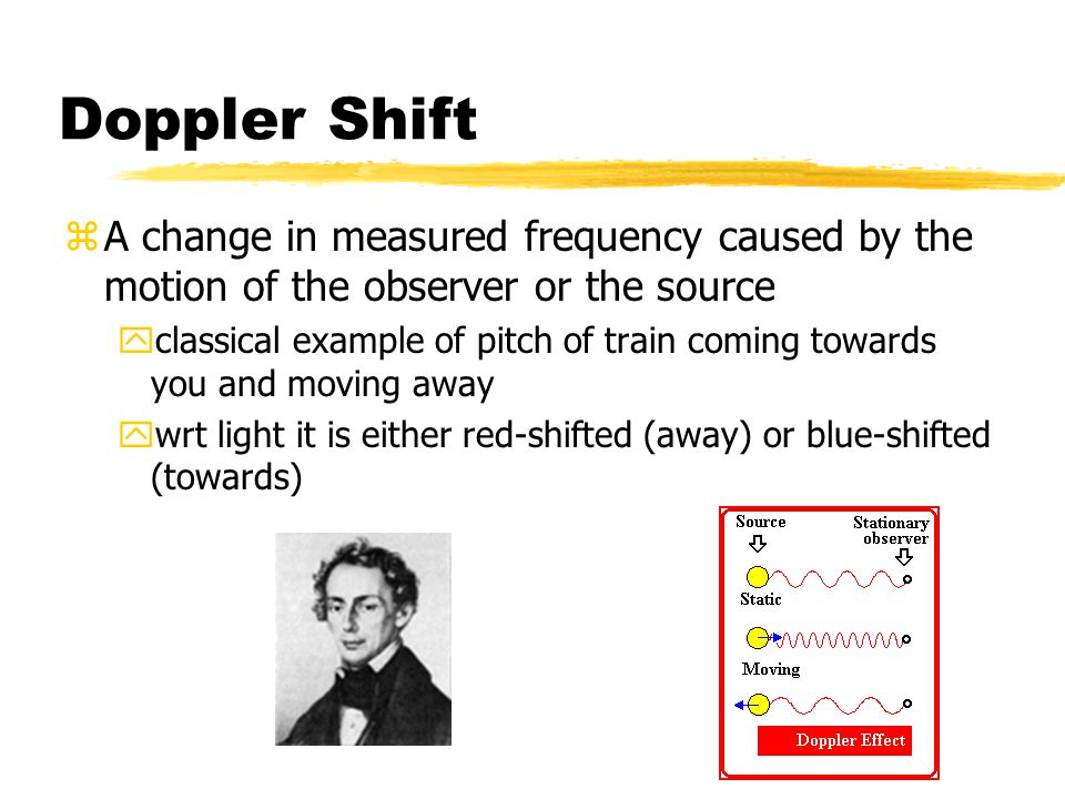 Doppler Shift A change in measured frequency caused by the motion of the observer or the source.