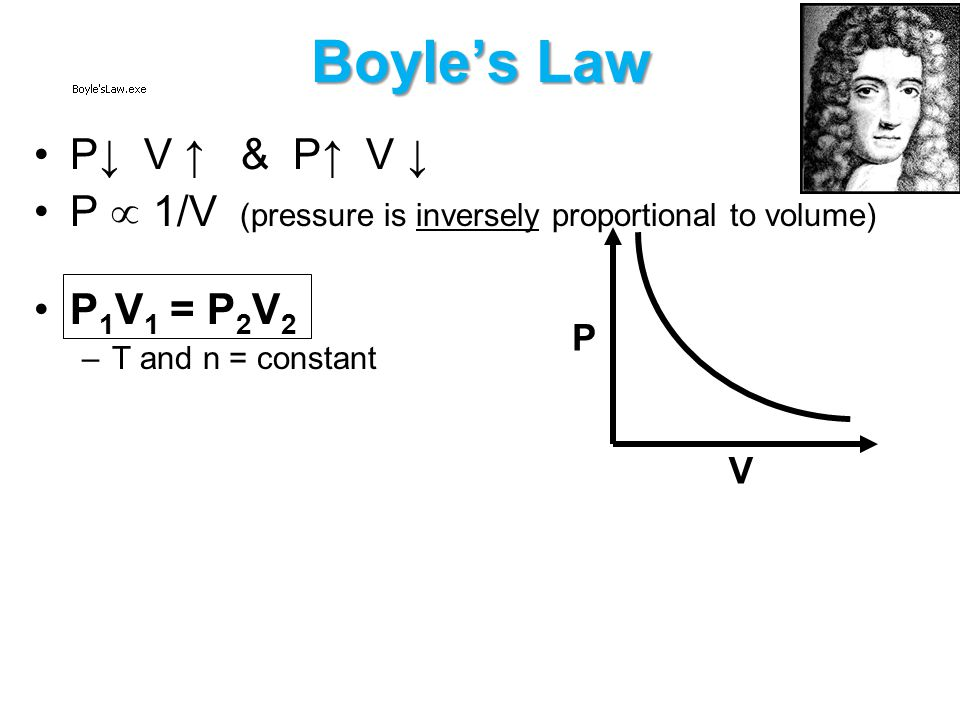 Boyle's Law P↓ V ↑ & P↑ V ↓ P  1/V (pressure is inversely proportional to volume) P1V1 = P2V2.