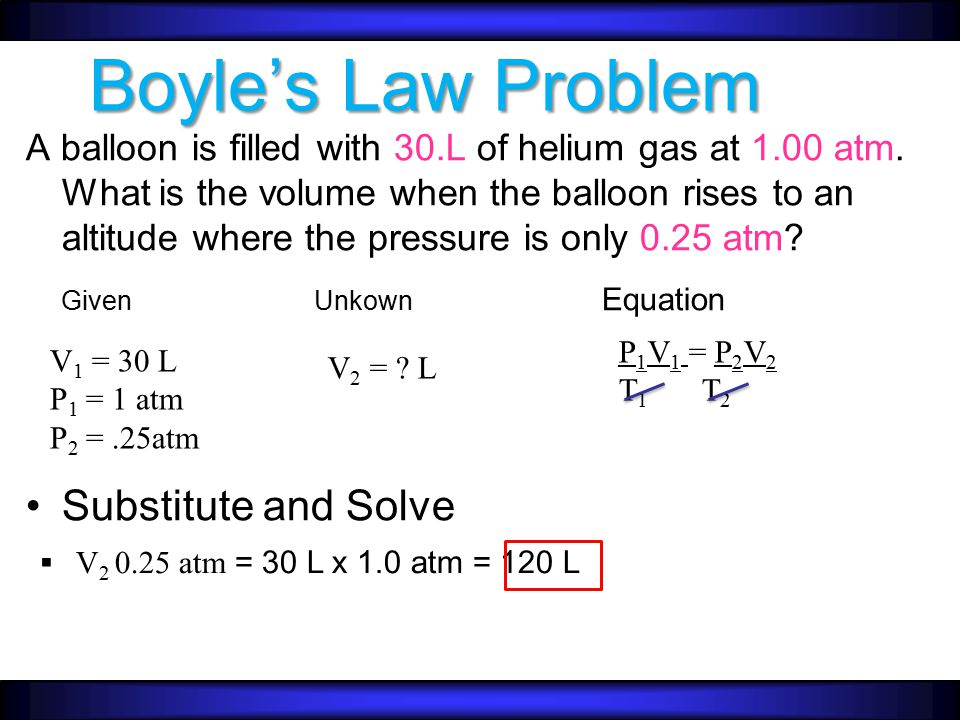 Boyle's Law Problem Given Unkown Equation Substitute and Solve