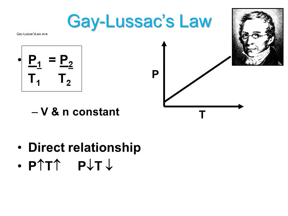 Gay-Lussac's Law P1 = P2 T1 T2 Direct relationship PT PT  P