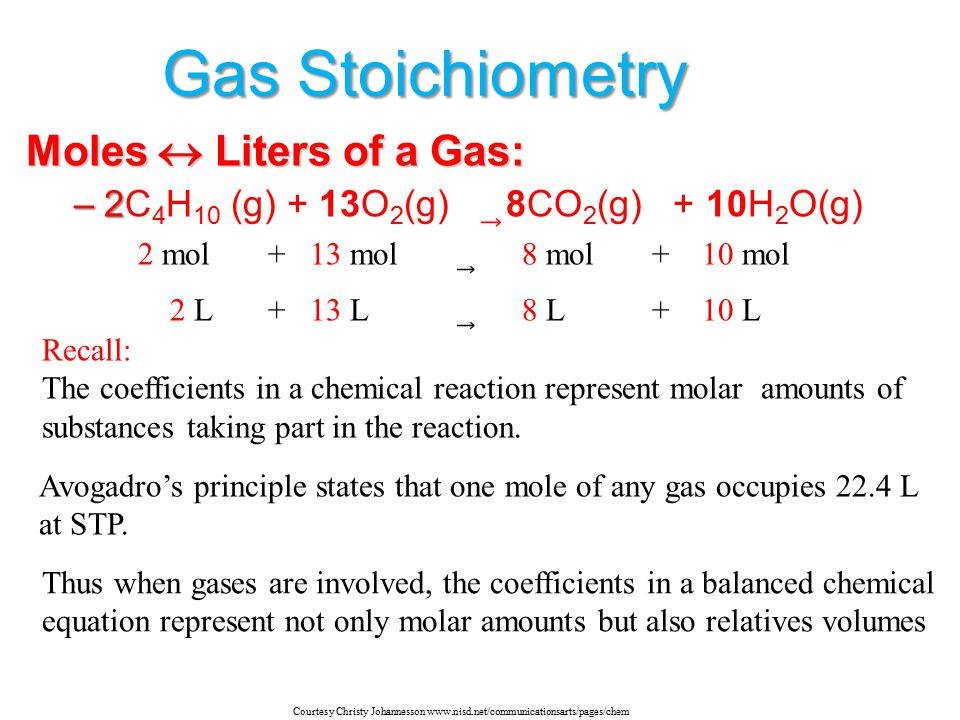 Gas Stoichiometry Moles  Liters of a Gas: