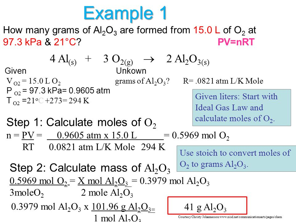 Example 1 4 Al(s) + 3 O2(g)  2 Al2O3(s)