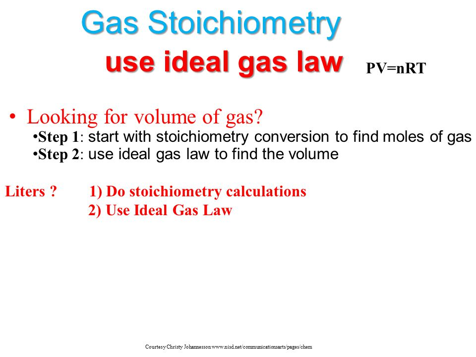 Gas Stoichiometry use ideal gas law