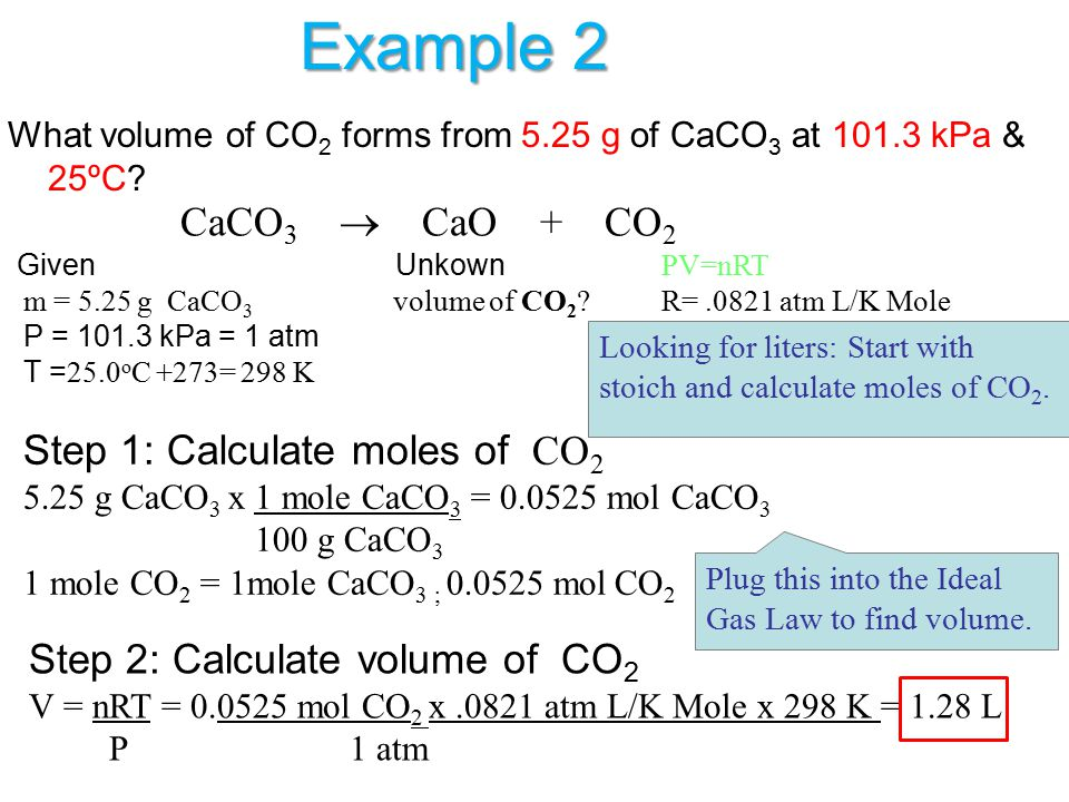 Example 2 CaCO3  CaO + CO2 Step 2: Calculate volume of CO2