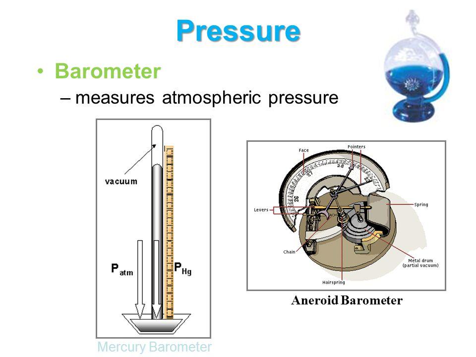 Pressure Barometer measures atmospheric pressure Aneroid Barometer