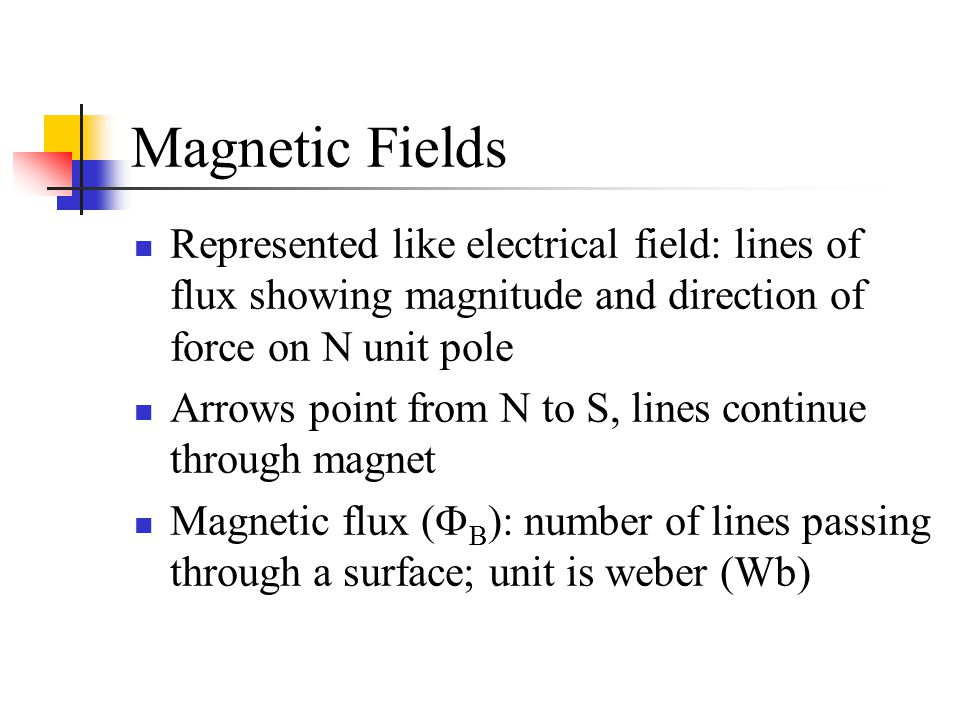 Magnetic Fields Represented like electrical field: lines of flux showing magnitude and direction of force on N unit pole.