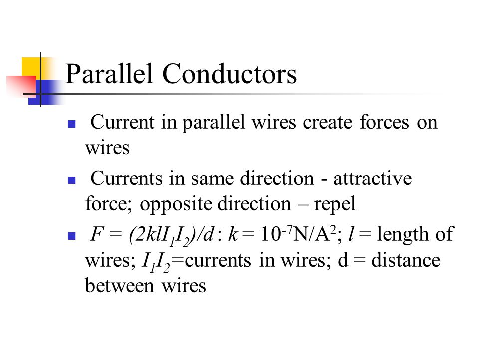 Parallel Conductors Current in parallel wires create forces on wires