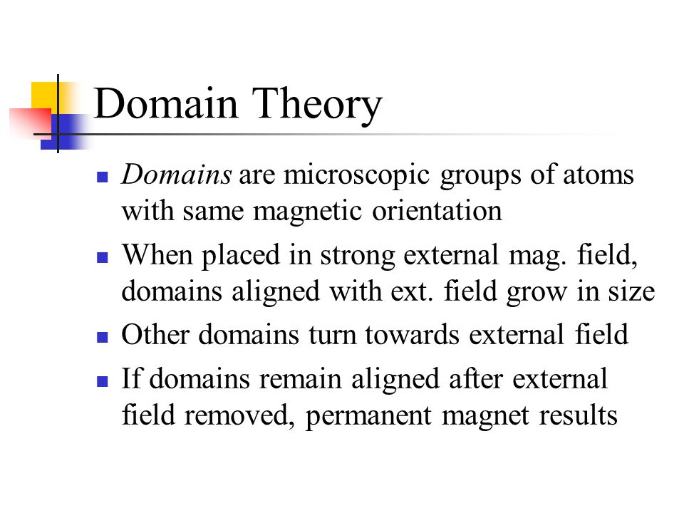 Domain Theory Domains are microscopic groups of atoms with same magnetic orientation.