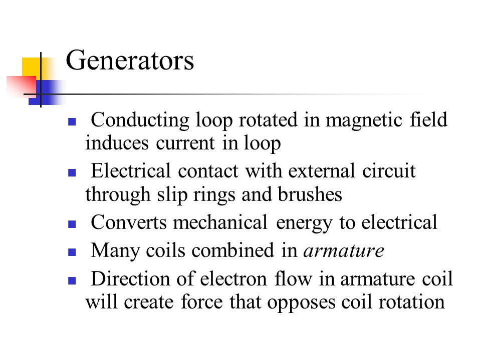 Generators Conducting loop rotated in magnetic field induces current in loop.