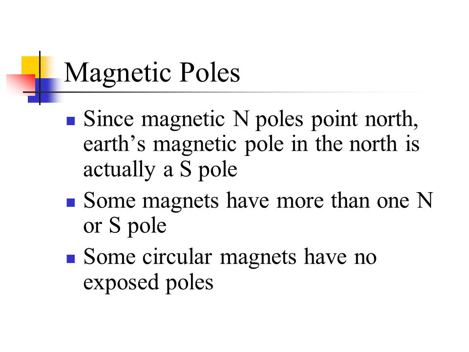 Magnetic Poles Since magnetic N poles point north, earth's magnetic pole in the north is actually a S pole.