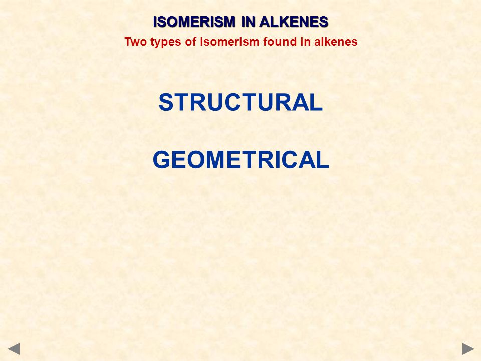 Two types of isomerism found in alkenes