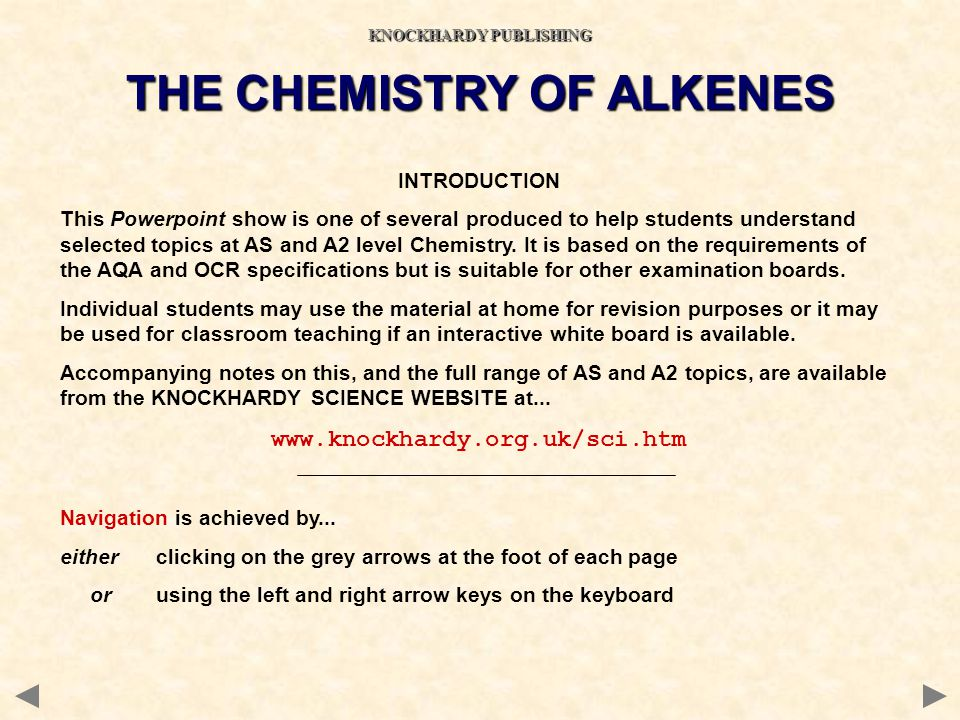 KNOCKHARDY PUBLISHING THE CHEMISTRY OF ALKENES
