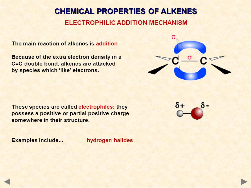 CHEMICAL PROPERTIES OF ALKENES ELECTROPHILIC ADDITION MECHANISM