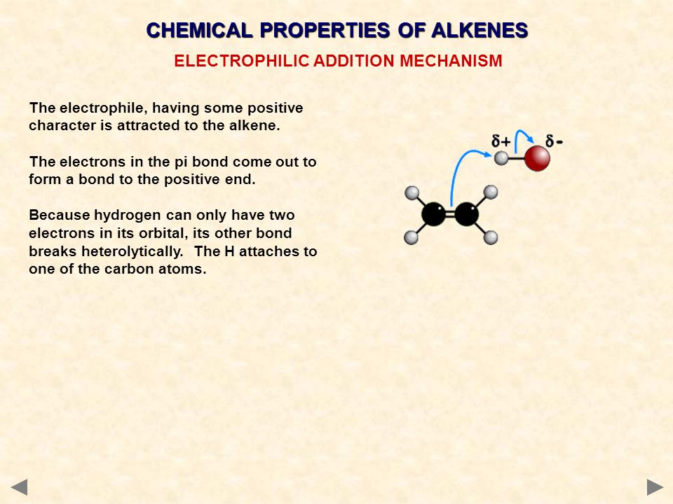 CHEMICAL PROPERTIES OF ALKENES ELECTROPHILIC ADDITION MECHANISM