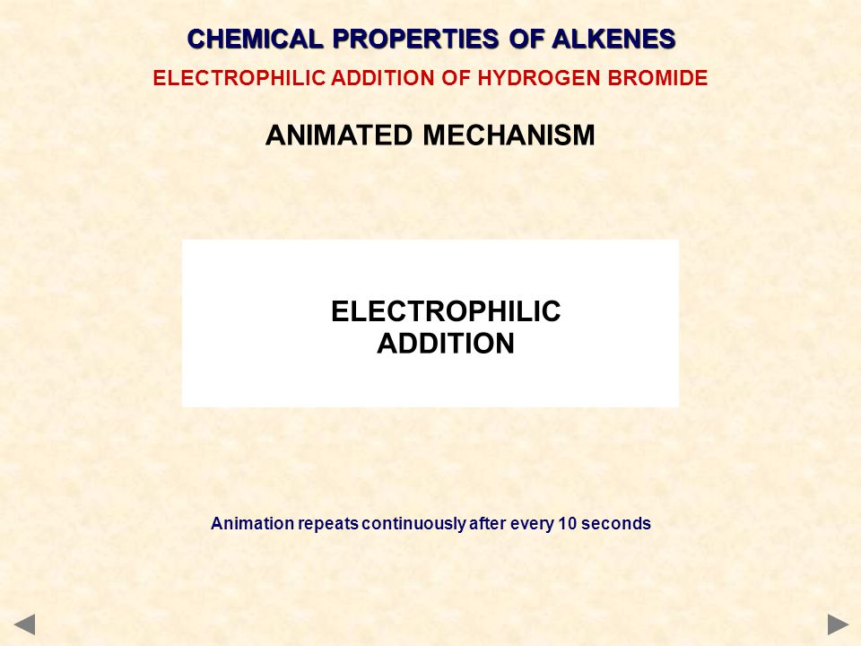 ANIMATED MECHANISM CHEMICAL PROPERTIES OF ALKENES