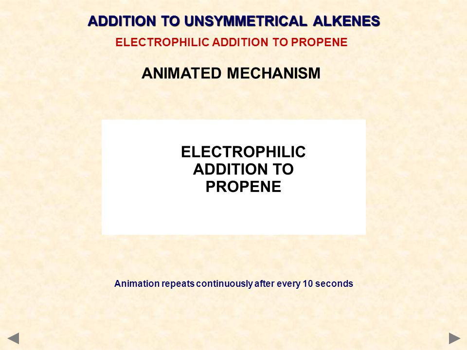 ANIMATED MECHANISM ADDITION TO UNSYMMETRICAL ALKENES