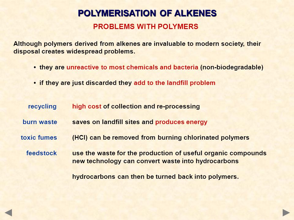 POLYMERISATION OF ALKENES PROBLEMS WITH POLYMERS