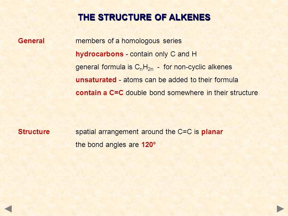 THE STRUCTURE OF ALKENES