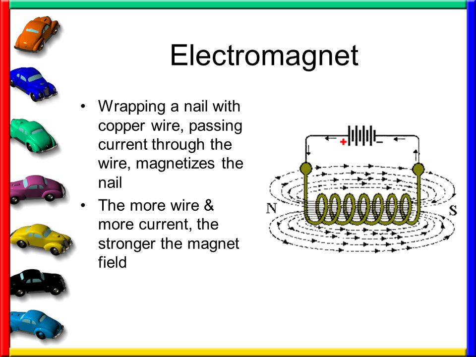 Electromagnet Wrapping a nail with copper wire, passing current through the wire, magnetizes the nail.