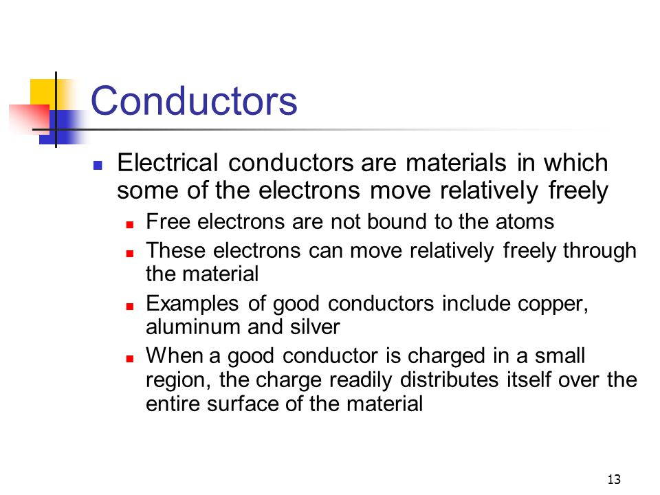 Conductors Electrical conductors are materials in which some of the electrons move relatively freely.