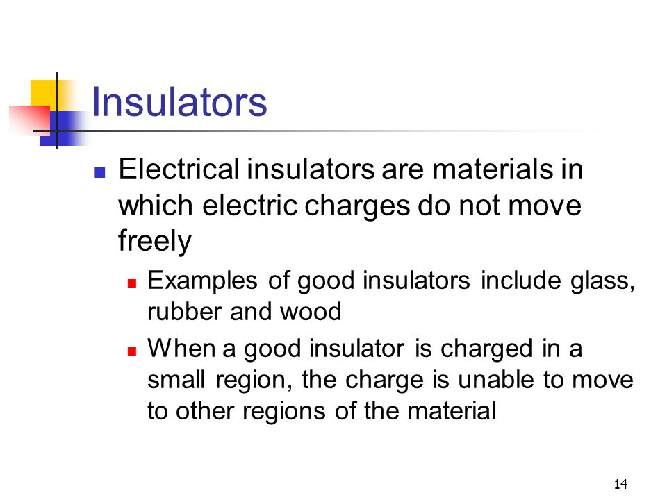 Insulators Electrical insulators are materials in which electric charges do not move freely.