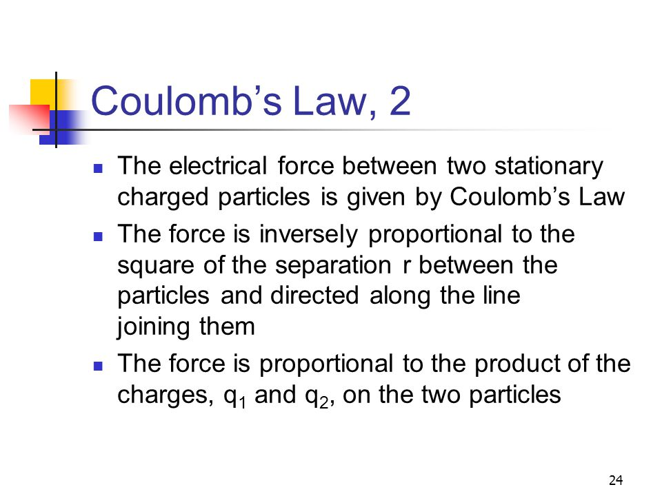 Coulomb's Law, 2 The electrical force between two stationary charged particles is given by Coulomb's Law.