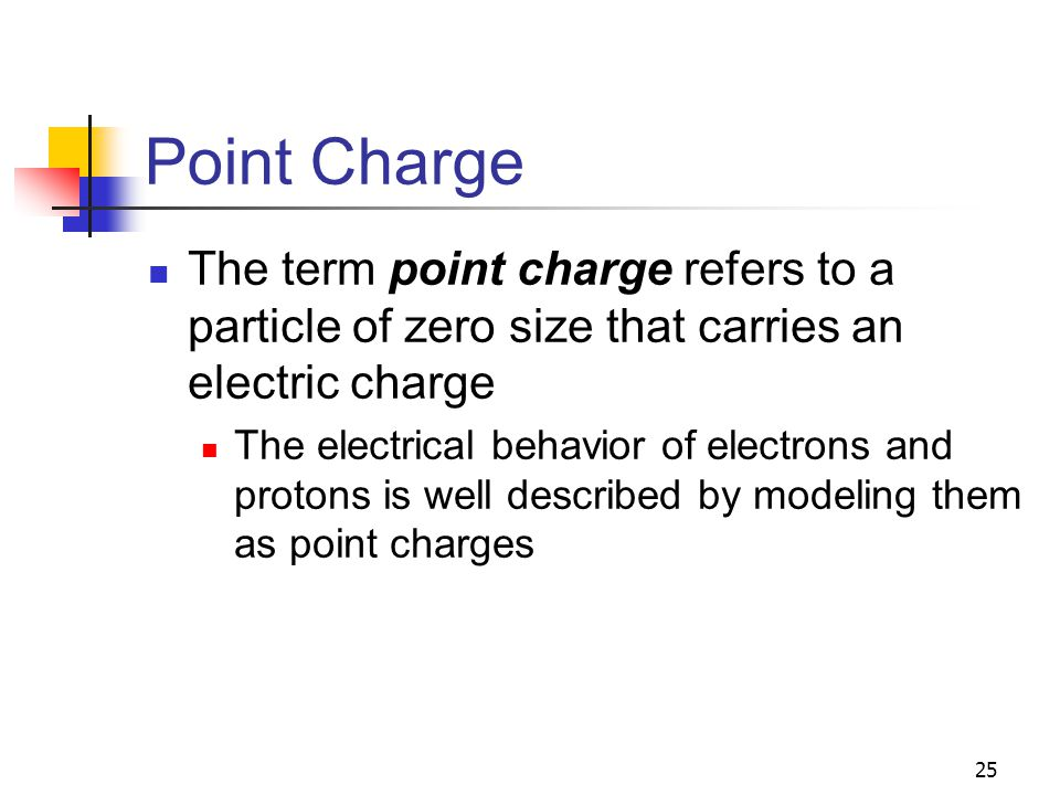 Point Charge The term point charge refers to a particle of zero size that carries an electric charge.