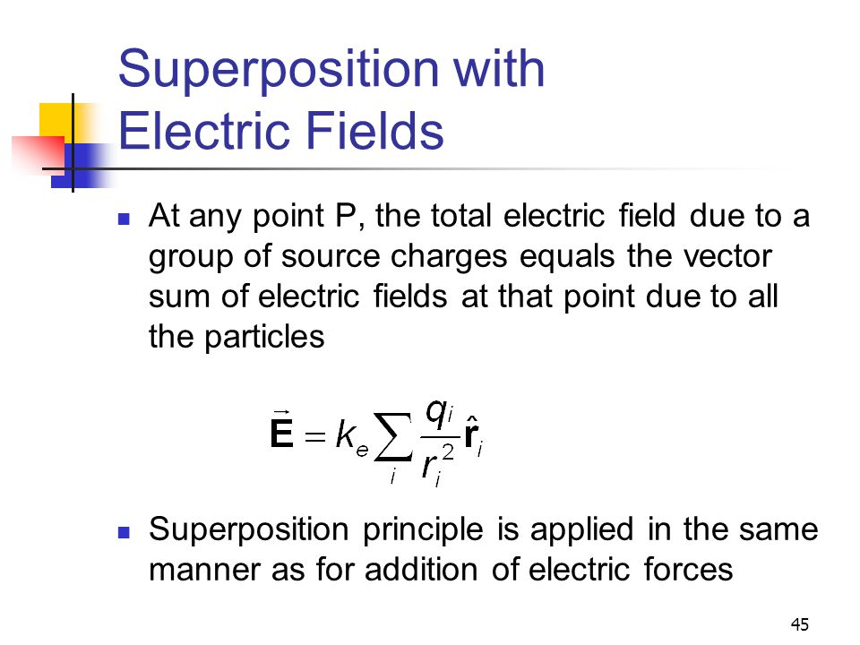 Superposition with Electric Fields