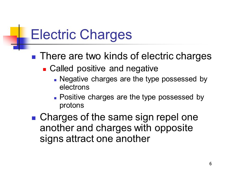 Electric Charges There are two kinds of electric charges