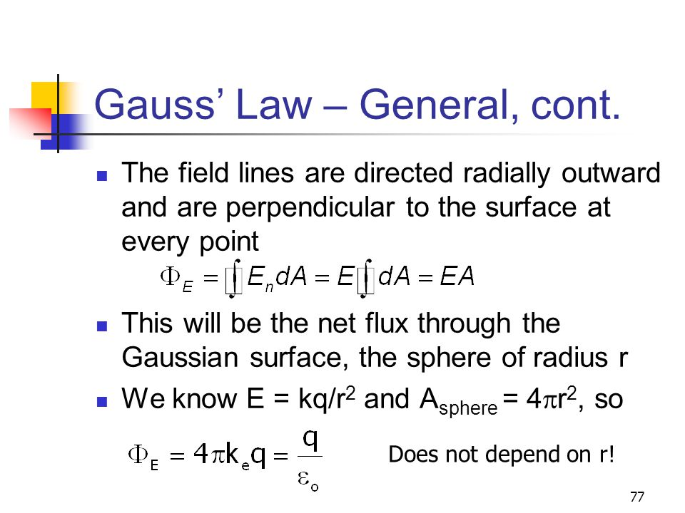 Gauss' Law – General, cont.