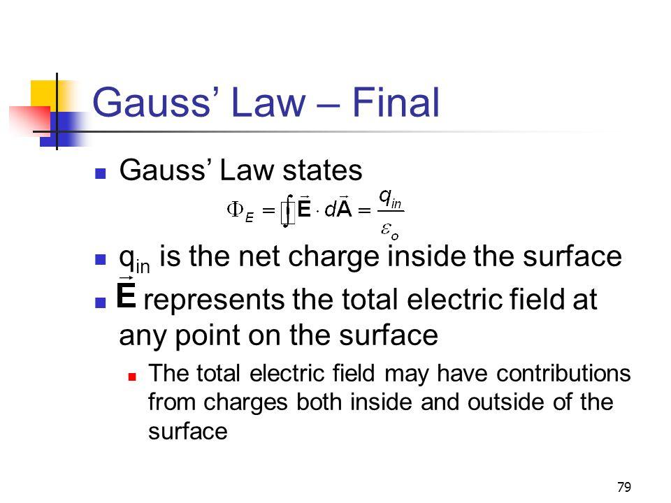 Gauss' Law – Final Gauss' Law states
