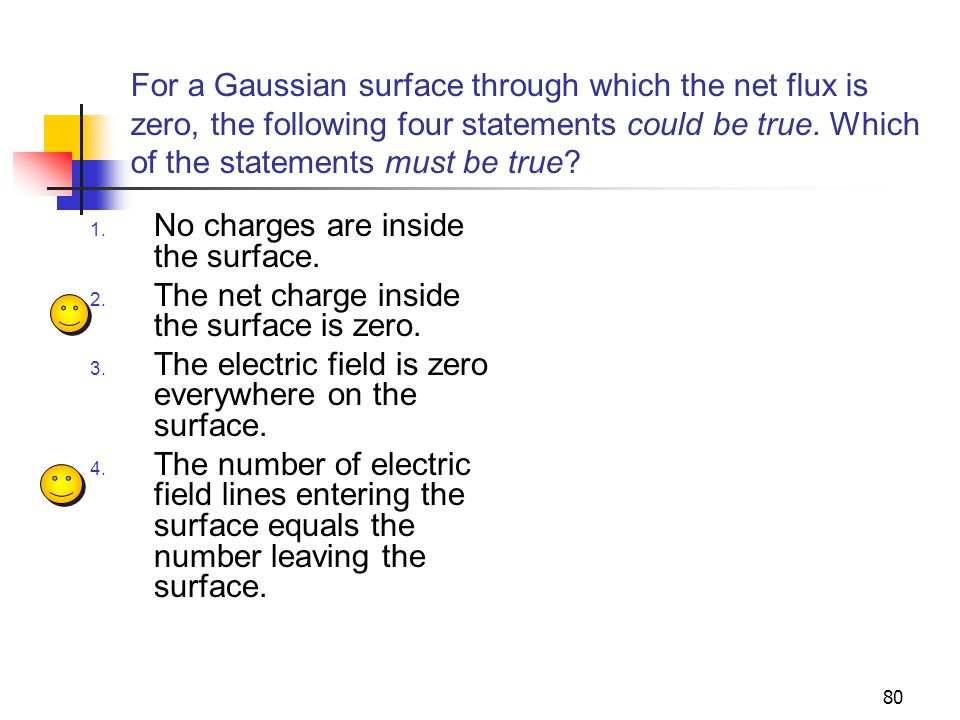 For a Gaussian surface through which the net flux is zero, the following four statements could be true. Which of the statements must be true