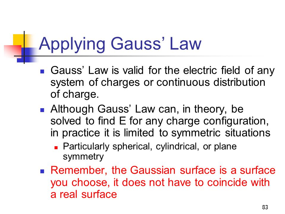 Applying Gauss' Law Gauss' Law is valid for the electric field of any system of charges or continuous distribution of charge.