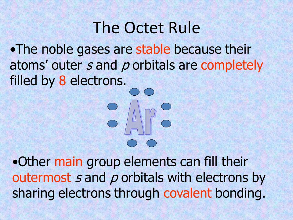 The Octet Rule The noble gases are stable because their atoms' outer s and p orbitals are completely filled by 8 electrons.