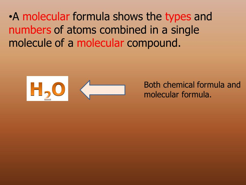 A molecular formula shows the types and numbers of atoms combined in a single molecule of a molecular compound.