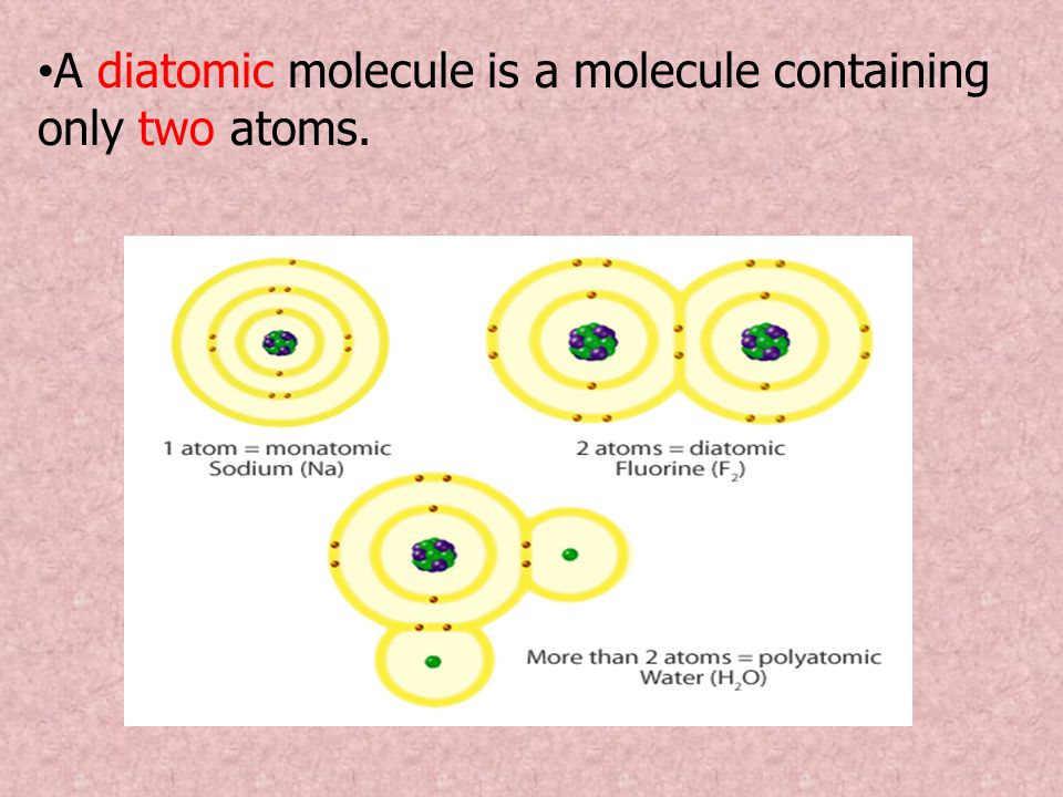A diatomic molecule is a molecule containing only two atoms.