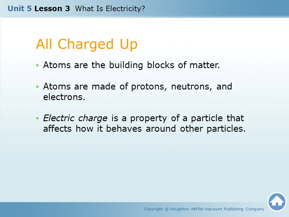 All Charged Up Atoms are the building blocks of matter.