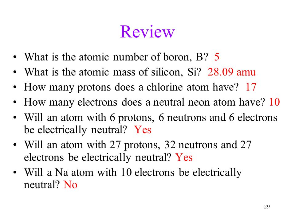 Review What is the atomic number of boron, B 5