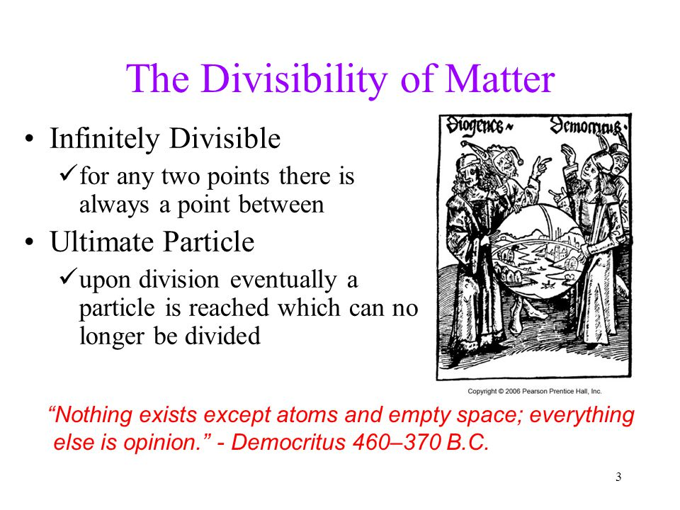 The Divisibility of Matter