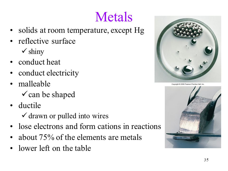 Metals solids at room temperature, except Hg reflective surface