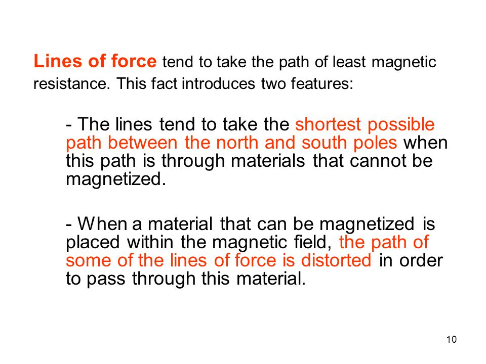 Lines of force tend to take the path of least magnetic