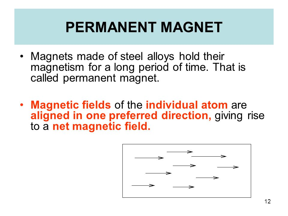 PERMANENT MAGNET Magnets made of steel alloys hold their magnetism for a long period of time. That is called permanent magnet.