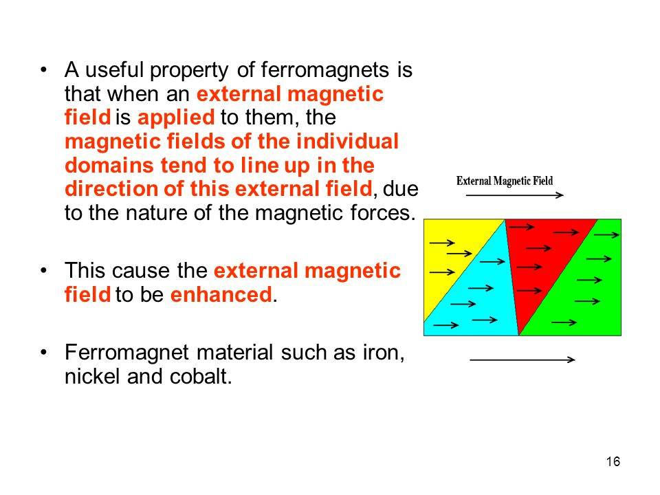 A useful property of ferromagnets is that when an external magnetic field is applied to them, the magnetic fields of the individual domains tend to line up in the direction of this external field, due to the nature of the magnetic forces.