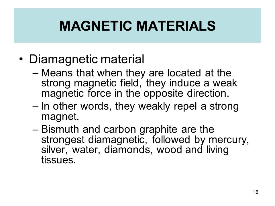 MAGNETIC MATERIALS Diamagnetic material