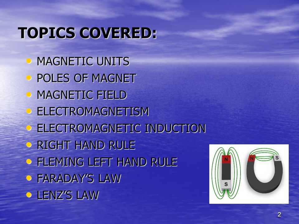 TOPICS COVERED: MAGNETIC UNITS POLES OF MAGNET MAGNETIC FIELD