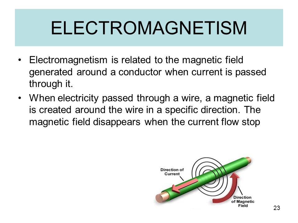 ELECTROMAGNETISM Electromagnetism is related to the magnetic field generated around a conductor when current is passed through it.