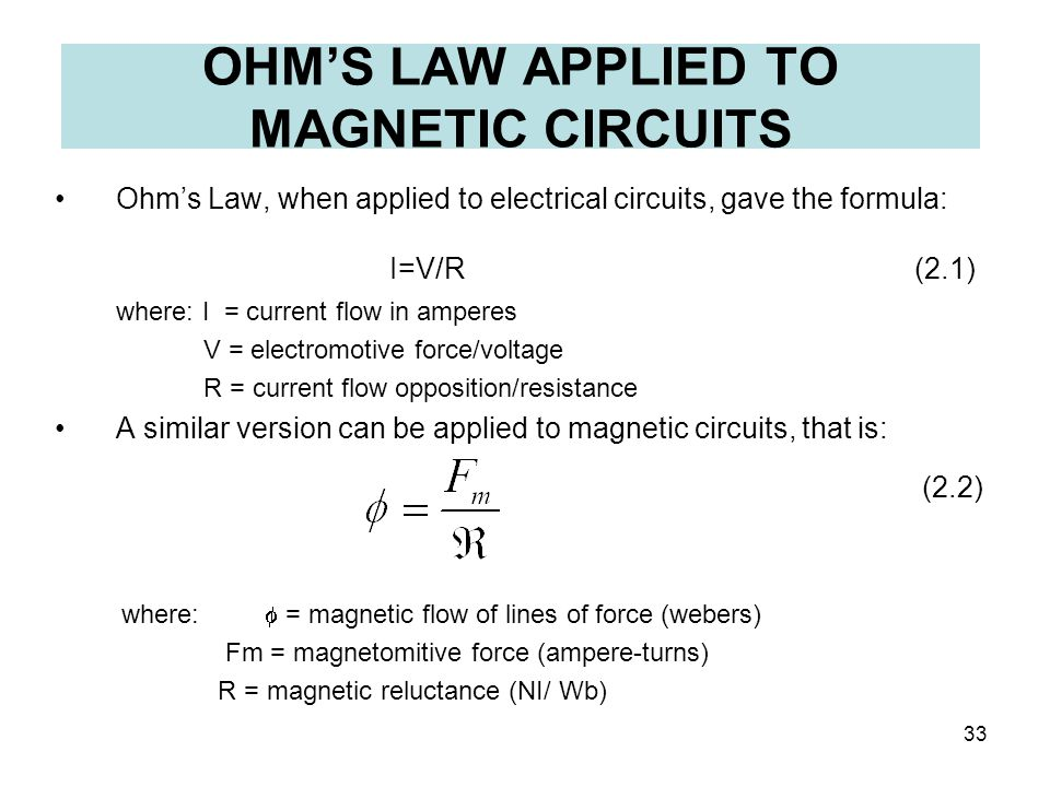 OHM'S LAW APPLIED TO MAGNETIC CIRCUITS