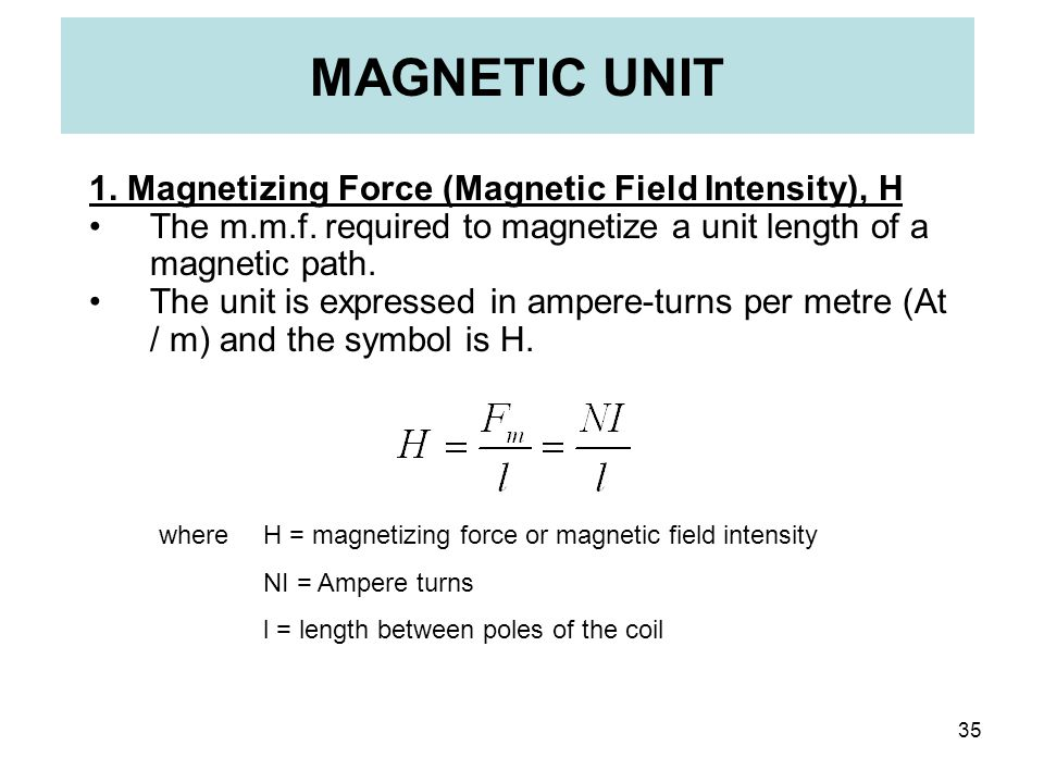 MAGNETIC UNIT 1. Magnetizing Force (Magnetic Field Intensity), H