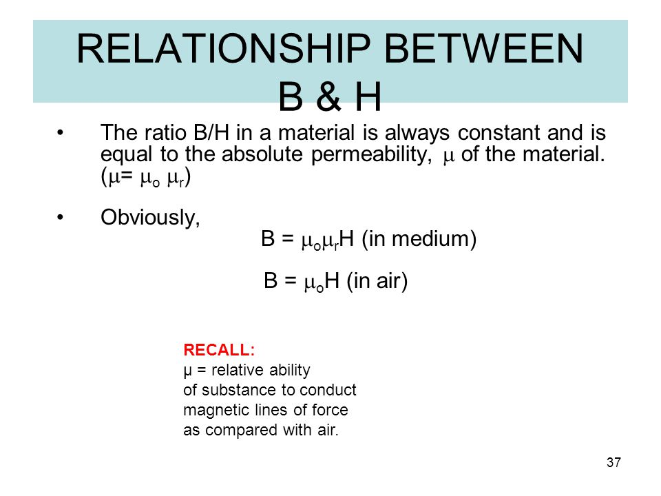 RELATIONSHIP BETWEEN B & H