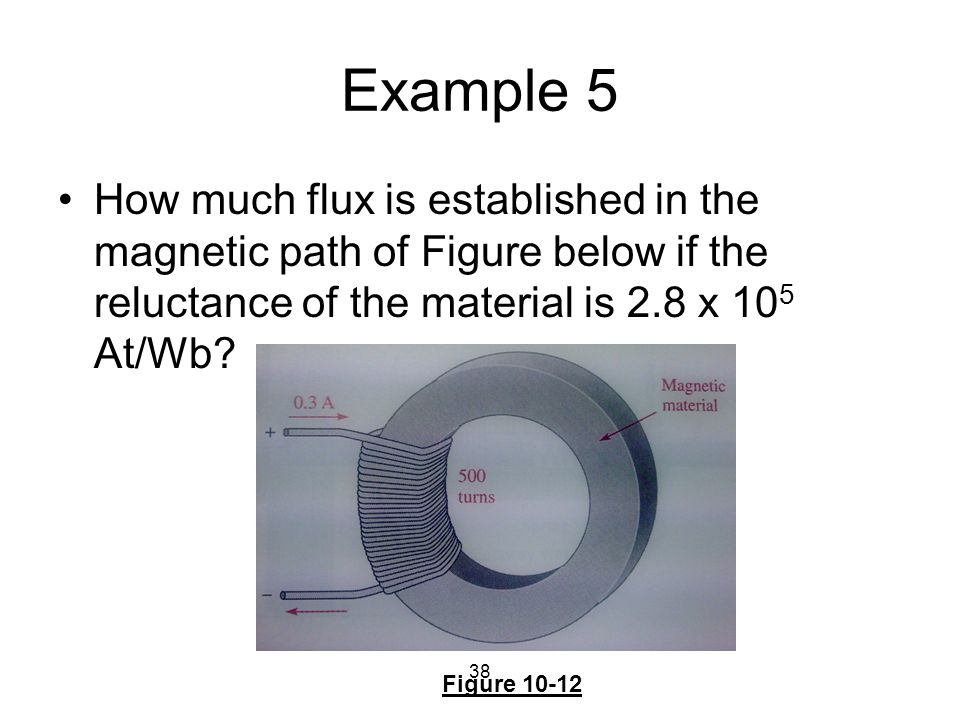 Example 5 How much flux is established in the magnetic path of Figure below if the reluctance of the material is 2.8 x 105 At/Wb